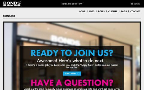 Screenshot of Contact Page bonds.com.au - Contact Us   Bonds Jobs - captured Jan. 8, 2017