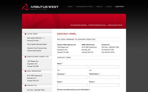 Screenshot of Contact Page arbutuswest.com - Contact   AWAL Arbutus West Agency Ltd. - captured Oct. 4, 2014