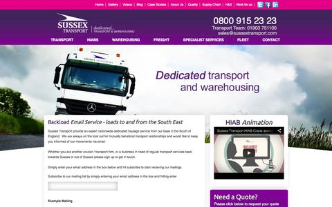 Screenshot of Signup Page sussextransport.com - Backloads to and from Sussex & South East - captured Sept. 30, 2014