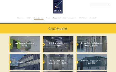 Screenshot of Case Studies Page cosmosprojects.com - Cosmos Projects :: Case Studies - captured Sept. 4, 2017