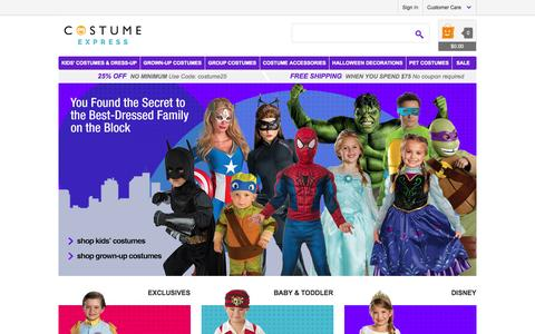 Screenshot of Home Page costumeexpress.com - Halloween Costumes for Kids & Adults | Costume Accessories - CostumeExpress.com - captured Sept. 22, 2014