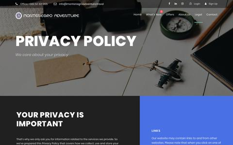 Screenshot of Privacy Page montenegroadventure.travel - Privacy Policy | Montenegro Adventure - captured Oct. 20, 2018
