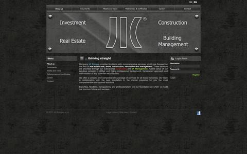 Screenshot of Home Page About Page Menu Page jkbuilding.eu - JK | Investment, Real Estate, Construction, Facility Management - captured Sept. 30, 2014