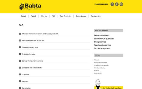 Screenshot of FAQ Page babta.co.nz - FAQ | Babta Bags - captured Oct. 5, 2014