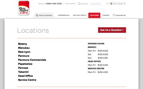Screenshot of Contact Page Locations Page buyrightcars.co.nz - Locations | Buy Right Cars - captured April 12, 2017