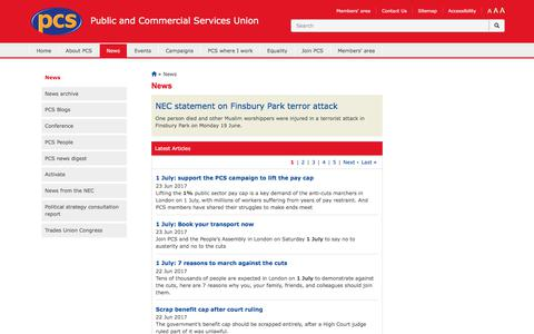 Screenshot of Press Page pcs.org.uk - News | Public and Commercial Services Union - captured June 25, 2017
