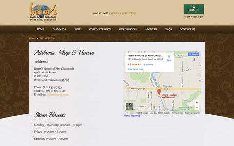 Screenshot of Maps & Directions Page Hours Page husars.com - Address, Map & Hours | Husar's House of Fine Diamonds - captured June 16, 2016