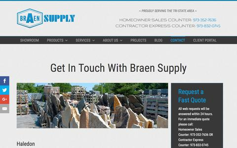 Screenshot of Contact Page braensupply.com - Masonry, Landscape, Hardware | NJ, NY | Braen Supply | Northern NJ, Bergen County, Passaic County - captured Aug. 3, 2018