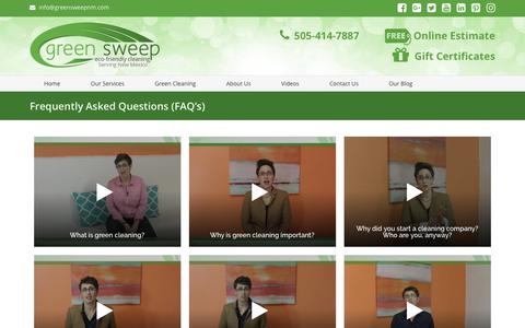 Screenshot of FAQ Page greensweepnm.com - Frequently Asked Questions (FAQ's) - captured Oct. 1, 2018