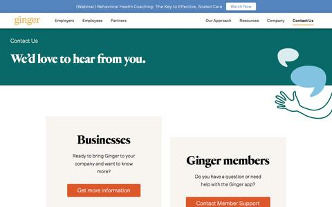 Screenshot of Contact Page ginger.io - Contact - captured Oct. 30, 2019