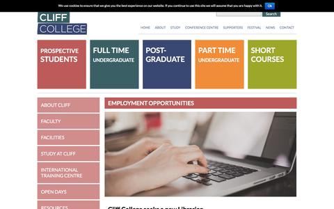 Screenshot of Jobs Page cliffcollege.ac.uk - Employment Opportunities - Cliff College - captured July 14, 2016