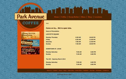 Screenshot of Hours Page parkavenuecoffee.com - Come on by... We're open late. | Park Avenue Coffee - captured Sept. 27, 2014
