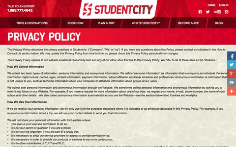 Screenshot of Privacy Page studentcity.com - Privacy | StudentCity - captured Sept. 22, 2014