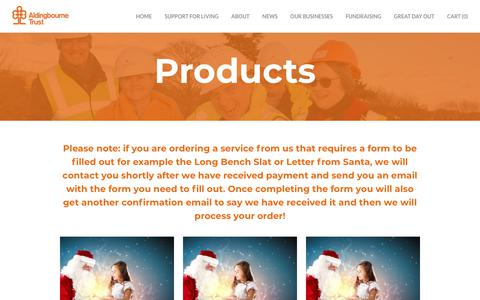 Screenshot of Products Page aldingbournetrust.org - Products - Aldingbourne Trust - captured Nov. 6, 2018