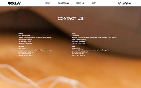 Screenshot of Contact Page golla.com - Contact Us - Golla - captured Oct. 30, 2014