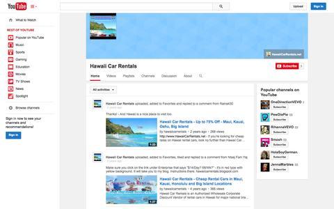 Screenshot of YouTube Page youtube.com - Hawaii Car Rentals  - YouTube - captured Oct. 22, 2014