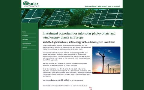 Screenshot of Home Page solarinvestments.es - Solar Investments - captured Sept. 30, 2014
