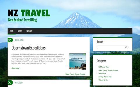 Screenshot of Home Page nz-travel.co.nz - NZ Travel : New Zealand Travel Blog - captured June 28, 2018