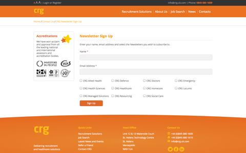 Screenshot of Signup Page crg.uk.com - CRG Newsletter Sign Up - captured Oct. 1, 2014