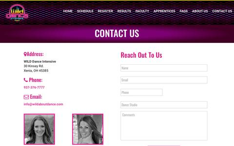 Screenshot of Contact Page wildaboutdance.com - Contact Us | WILD Dance Intensive - captured Oct. 23, 2018