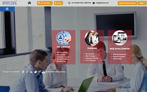 Screenshot of Home Page dmcipl.com - Top Recruitment Consultancy Bangalore- DM Consulting - captured Oct. 7, 2015
