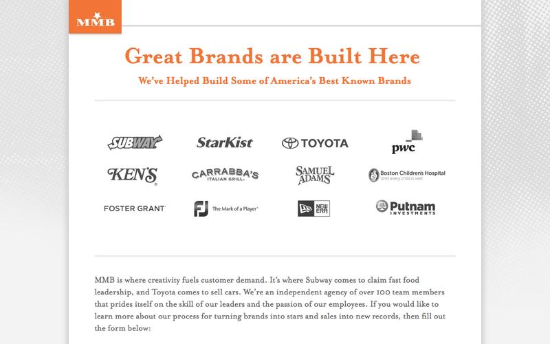 Great Brands are Built Here We've Helped Build Some of America's Best Known Brands - MMB