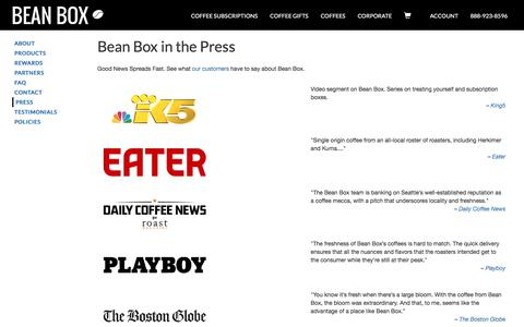 Screenshot of Press Page beanbox.co - Coffee Subscriptions and Gifts from Seattle | Bean Box - captured Feb. 15, 2018