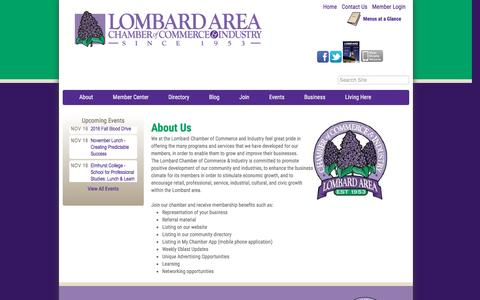 Screenshot of About Page lombardchamber.com - About Us - Lombard Area Chamber of Commerce and Industry, IL - captured Nov. 13, 2016