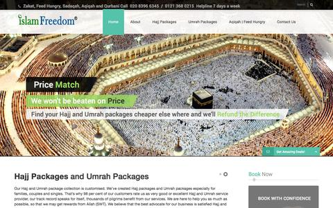 Screenshot of Home Page islamfreedom.com - Hajj and Umrah Packages | Qurbani, Aqiqah, Feed Hungry, Zakat - Islam Freedom - captured Jan. 9, 2016