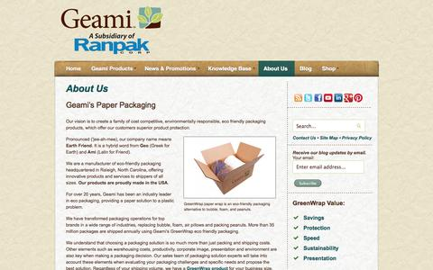 Screenshot of About Page geami.com - About Us | Eco Friendly Recyclable Packaging - captured Sept. 29, 2014