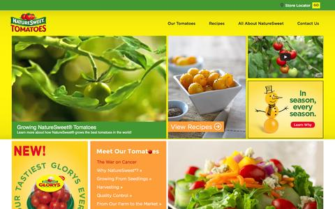 Screenshot of Home Page naturesweet.com - NatureSweet | For Guaranteed Great Taste, Just Pick NatureSweet - captured Jan. 13, 2016