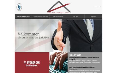 Screenshot of Home Page advokatfirmanaldo.se - Advokatfirman ALDO - Advokatfirman Aldo - captured Sept. 30, 2014
