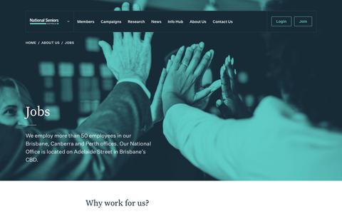 Screenshot of Jobs Page nationalseniors.com.au - Jobs - National Seniors - captured Oct. 18, 2018