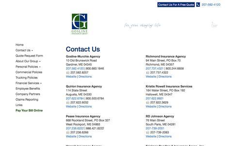 Screenshot of Contact Page Locations Page goslineinsurancegroup.com - Contact Gosline Insurance Group - captured Nov. 27, 2016