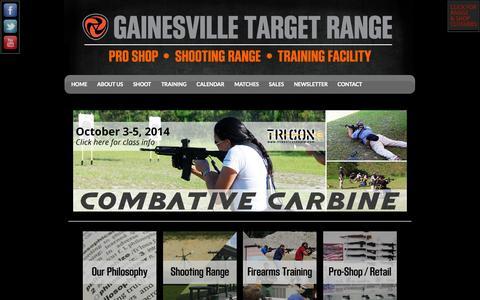 Screenshot of Home Page gainesvilletargetrange.com - GTR Gun Club - captured Sept. 29, 2014