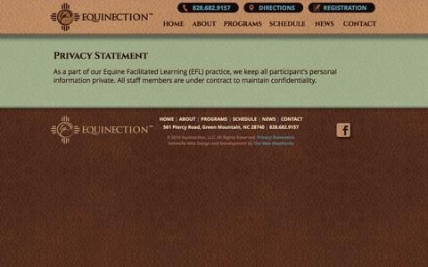 Screenshot of Privacy Page equinection.org - Privacy Statement | Equinection | Green Mountain, NC - captured Jan. 30, 2016