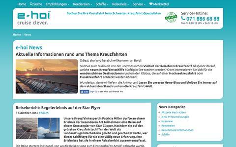 Screenshot of Blog Press Page e-hoi.ch - Kreuzfahrt-Blog e-hoi.ch - - captured Nov. 14, 2016