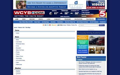 Screenshot of Site Map Page wcyb.com captured Sept. 19, 2014