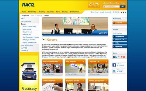 Screenshot of Jobs Page racq.com.au - Careers               | About Us | RACQ - captured Sept. 19, 2014