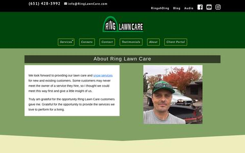 Screenshot of About Page ringlawncare.com - About Bryan Ring of Ring Lawn Care Stillwater MN - captured Sept. 21, 2018