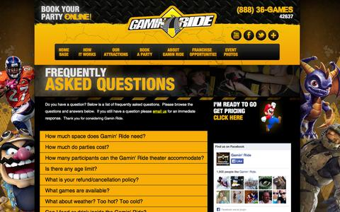 Screenshot of FAQ Page gaminride.com - Frequently Asked Questions - captured Oct. 27, 2014