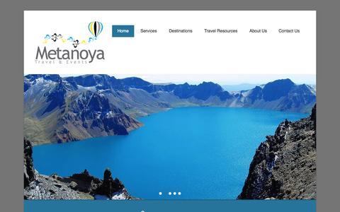 Screenshot of Home Page Menu Page metanoyatae.com - Metanoya Travel and Events - captured Oct. 6, 2014