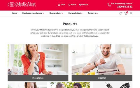 Screenshot of Products Page medicalert.org.au - MedicAlert Medical ID Product Range - Medic Alert Products   MedicAlert - captured Nov. 21, 2016
