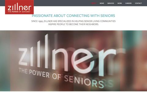 Screenshot of About Page zillner.com - The Power of Seniors | About Zillner Marketing - captured Feb. 26, 2016