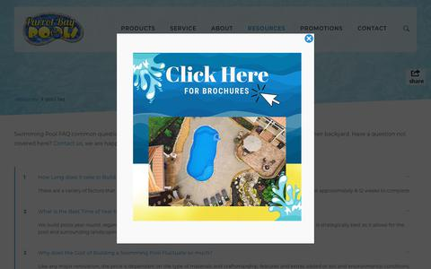 Screenshot of FAQ Page parrotbaypoolsnc.com - SWIMMING POOL FAQ DIY How-to Raleigh Fayetteville – Parrot Bay Pools NC - captured Dec. 14, 2018