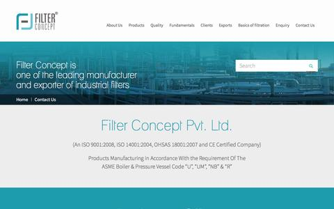 Screenshot of Contact Page filter-concept.com - Contact Filter Manufacturer & Exporter Ahmedabad, Gujarat, India, Australia, China - captured Sept. 6, 2016