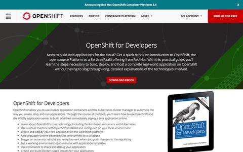 Screenshot of Developers Page openshift.com - Free eBook - OpenShift for Developers - captured Feb. 25, 2017