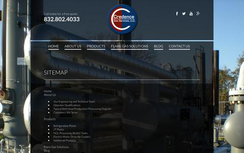 Screenshot of Site Map Page credencegasservices.com - SITEMAP - captured Feb. 1, 2016
