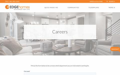Screenshot of Jobs Page edgehomes.com - Careers   EDGEhomes - captured Jan. 29, 2020