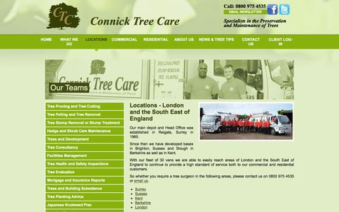 Screenshot of Locations Page connicktreecare.co.uk - Tree surgeons cover London & South East England | Connick Tree Care - captured July 20, 2018